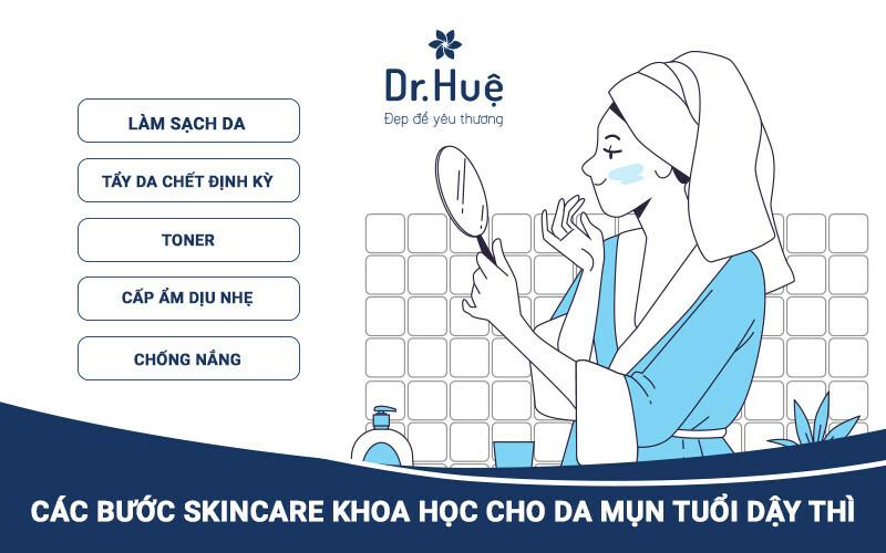 Quy trình các bước skincare cho da mụn tuổi dậy thì