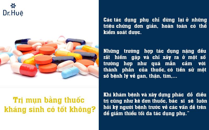 Trị mụn bằng thuốc kháng sinh có tốt không?