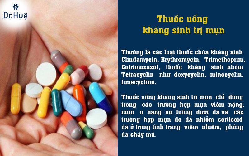 Thuốc uống kháng sinh trị mụn