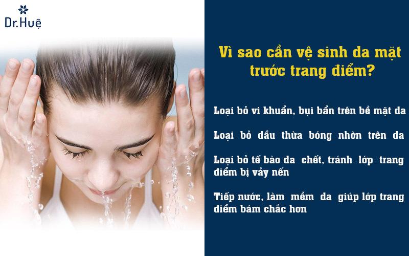 Vì sao cần vệ sinh da mặt các bước trang điểm cơ bản có kem chống nắng?