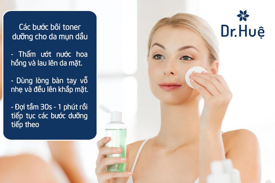 Bôi toner cũng là bước chăm sóc da dầu mụn cần có