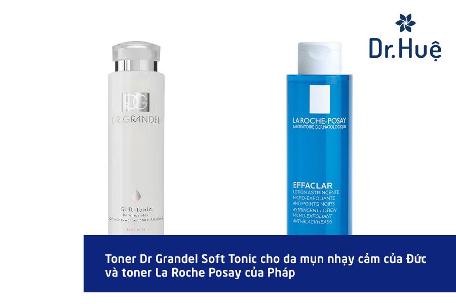 Toner cho da mụn da nhạy cảm đến từ Dr Grandel và Laroche Posay