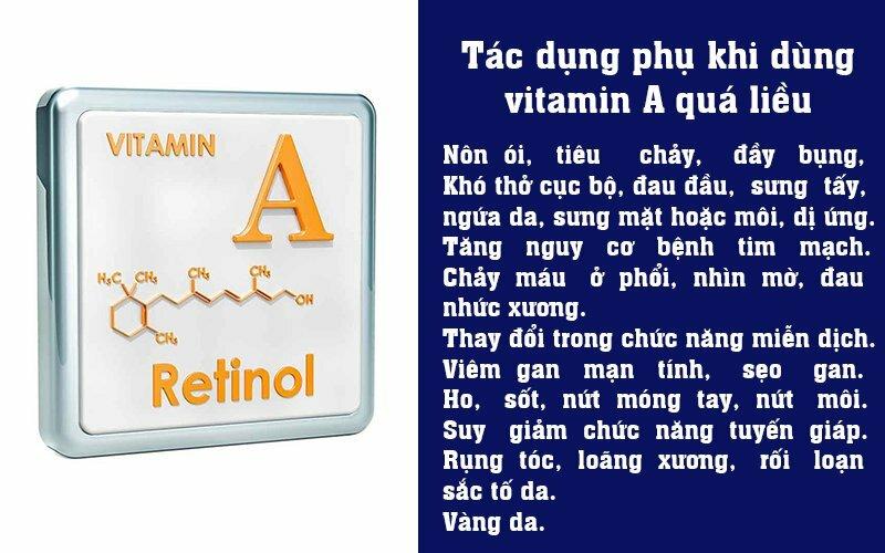 Tác dụng phụ khi dùng vitamin A quá liều