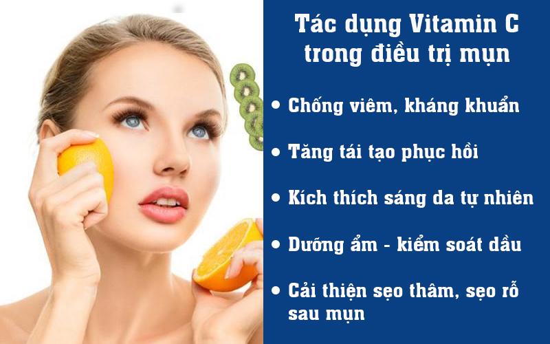 Tác dụng Vitamin C trong điều trị mụn