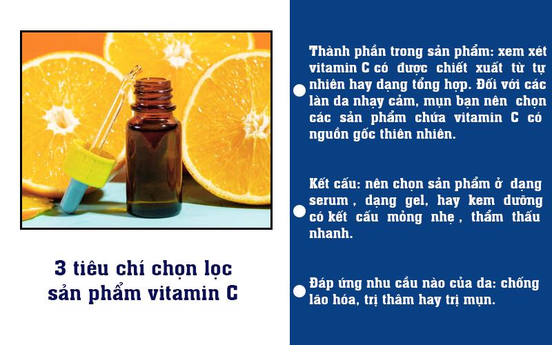 3 tiêu chí chọn lọc sản phẩm vitamin C