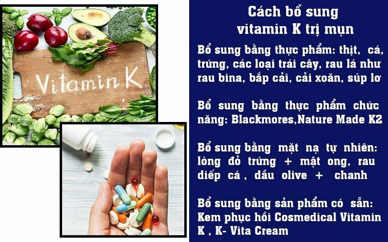Cách bổ sung vitamin K trị mụn